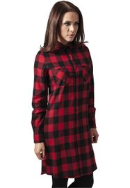 Urban classics Ladies Checked Flanell Shirt Dress blk/red