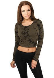 Urban classics Ladies Cropped Acid Wash L/S olv/blk