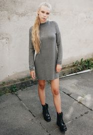 Urban classics Ladies Oversized Turtleneck Dress grey