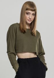 Urban classics Ladies Terry Cropped Crew olive