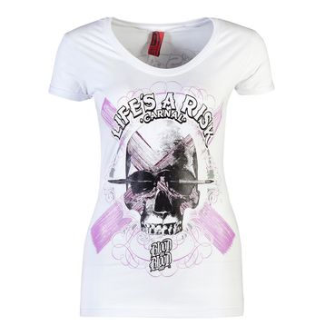 Blood In Blood Out Blood Art Skull Women T-Shirt - white