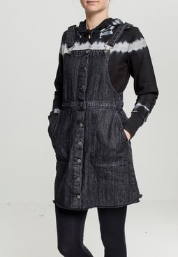 Urban Classics Ladies Denim Dungarees Dress black washed