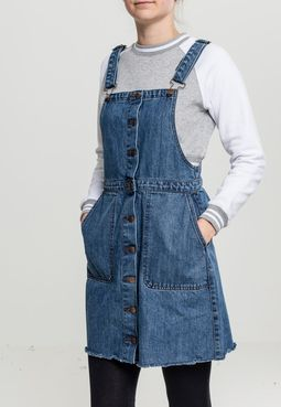 Urban Classics Ladies Denim Dungarees Dress ocean blue