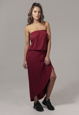 Urban classics Ladies Viscose Bandeau Dress burgundy