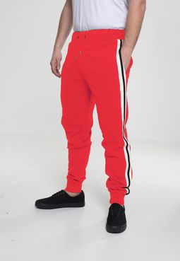 Urban Classics 3-Tone Side Stripe Terry Pants firered/wht/blk